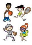 Het karakter van vier sportjonge geitjes Stock Foto