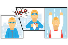 Het Karakter van zakenmantransformation super hero Stock Afbeeldingen