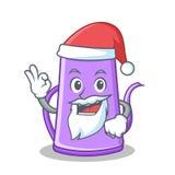 Het karakterbeeldverhaal van de kerstman purper theepot Stock Afbeelding