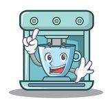 Het karakterbeeldverhaal van het vingerkoffiezetapparaat stock illustratie