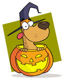 Het karakterHalloween van het beeldverhaal hond stock illustratie