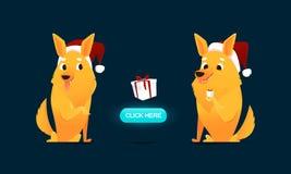 Het karakterillustratie van het Kerstmispuppy Kaart, banner, vlieger, uitnodigingsontwerp Stock Afbeelding