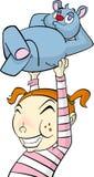 Het karaktermeisje van het beeldverhaal met teddybeer Stock Foto's