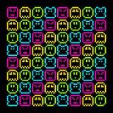 het Karakterpatroon met 8 bits van de Pixel Retro Regenboog EPS8 vector Stock Fotografie