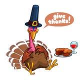 Het karakterslaap van Turkije van het dankzeggingsbeeldverhaal Geïsoleerde vectorillustratie clipart stock fotografie