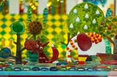 Het karameljonge geitje droomt Kleurrijke Kasteelachtergrond Royalty-vrije Stock Afbeelding