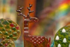 Het karameljonge geitje droomt Kleurrijke Kasteelachtergrond Stock Afbeeldingen