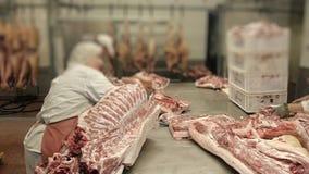 Het karkas van rundvlees of varkensvlees wordt gesneden door de slager in de productie van vleeswarenworsten stock video