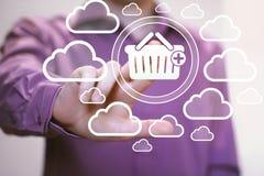 Het karretje van de bedrijfsknoop online mand het winkelen pictogram Stock Foto