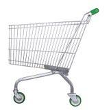 Het karretje van de supermarkt met het knippen van weg Stock Afbeeldingen