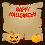 Het karton van Halloween met een gele pompoen stock afbeelding