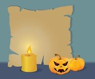 Het karton van Halloween met een kaars stock afbeelding
