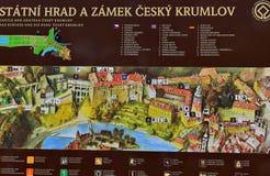 Het Kasteel Cesky Krumlov van de informatieraad stock afbeelding