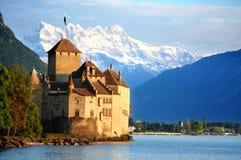 Het kasteel Chillon in Montreux, Zwitserland Stock Foto's