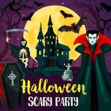 Het kasteel, de knuppels en het monster van Halloween vector illustratie