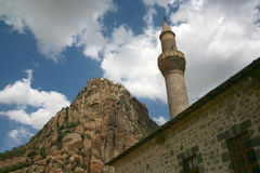 Het kasteel en de minaret van Karahisar Stock Foto