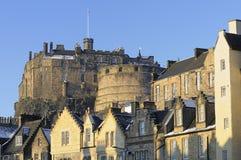 Het Kasteel en Grassmarket van Edinburgh stock foto's