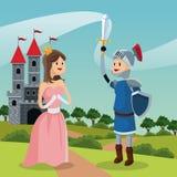 Het kasteel en het landschap van de prinsesridder Stock Afbeelding