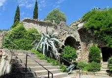 Het kasteel fortificated muur, treden en aloë Stock Foto