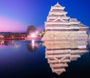 Het kasteel Matsumoto-PB historisch oriëntatiepunt van Matsumoto bij nacht met royalty-vrije stock afbeeldingen