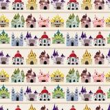 Het kasteel naadloos patroon van het Sprookje van het beeldverhaal Royalty-vrije Stock Afbeelding
