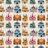 Het kasteel naadloos patroon van het Sprookje van het beeldverhaal Royalty-vrije Stock Fotografie