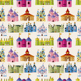 Het kasteel naadloos patroon van het Sprookje van het beeldverhaal Royalty-vrije Stock Foto's