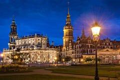 Het kasteel of Royal Palace van Dresden 's nachts, Saksen Royalty-vrije Stock Foto's