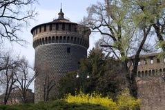 Het kasteel Sforza in Milaan Stock Afbeelding
