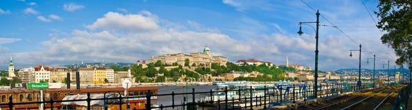 Het Kasteel van Buda en de rivier van Donau stock foto's