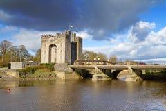 Het kasteel van Bunratty bij de rivier Stock Fotografie