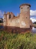 Het kasteel van Caerlaverock, Schotland Stock Afbeeldingen