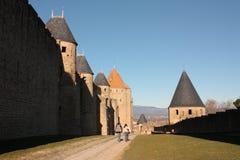 Het kasteel van Carcassonne Stock Afbeelding