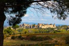 Het Kasteel van Carcassonne, een vesting in het midden van de bergen, de zomer Royalty-vrije Stock Foto's