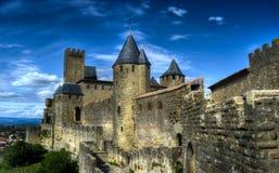 Het Kasteel van Carcassonne - Frankrijk Stock Foto's