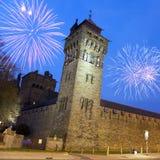 Het Kasteel van Cardiff bij Nacht royalty-vrije stock foto's