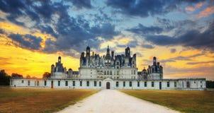 Het Kasteel van Chambord - Frankrijk Stock Foto's