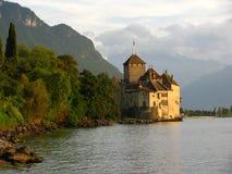 Het Kasteel van Chillon en het gouden uur Royalty-vrije Stock Afbeelding