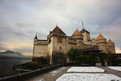 Het kasteel van Chillon, Zwitserland Stock Foto's