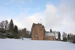 Het Kasteel van Crathes in de sneeuw Royalty-vrije Stock Foto