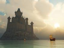Het kasteel van de fantasie bij zonsondergang Stock Afbeeldingen