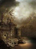 Het kasteel van de fantasie met een draak Stock Foto's