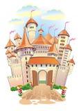 Het kasteel van de fantasie met torens en vlaggen Stock Afbeelding