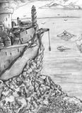 Het kasteel van de fantasie - schets Stock Afbeeldingen