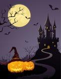 Het kasteel van de geheimzinnigheid, volle maan Royalty-vrije Stock Fotografie