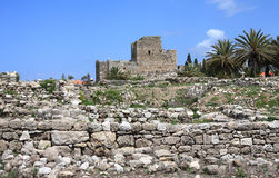 Het Kasteel van de kruisvaarder, Byblos (Libanon) stock foto's
