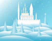 Het kasteel van de vectorsneeuwkoningin in bevroren bos Stock Foto