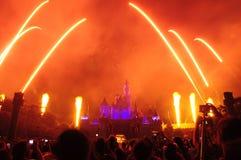Het Kasteel van Disney met vuurwerk Stock Fotografie