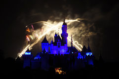 Het Kasteel van Disney met vuurwerk Stock Foto