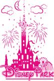 Het kasteel van Disney ` s in het midden van vermaak en vuurwerk stock illustratie